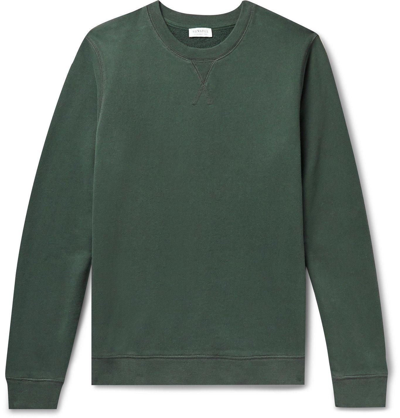 Photo: Sunspel - Brushed Loopback Cotton-Jersey Sweatshirt - Green