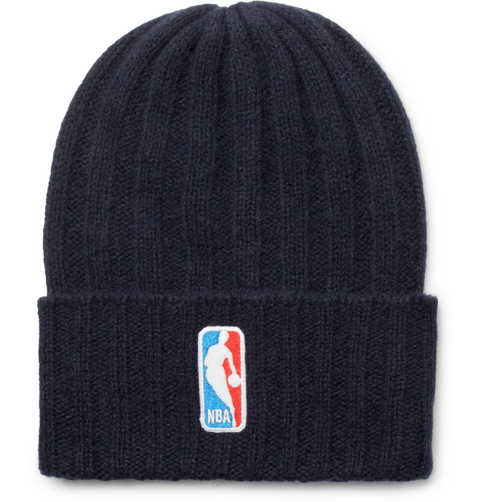 Photo: The Elder Statesman - NBA Bunny Echo Appliquéd Ribbed Cashmere Beanie - Navy