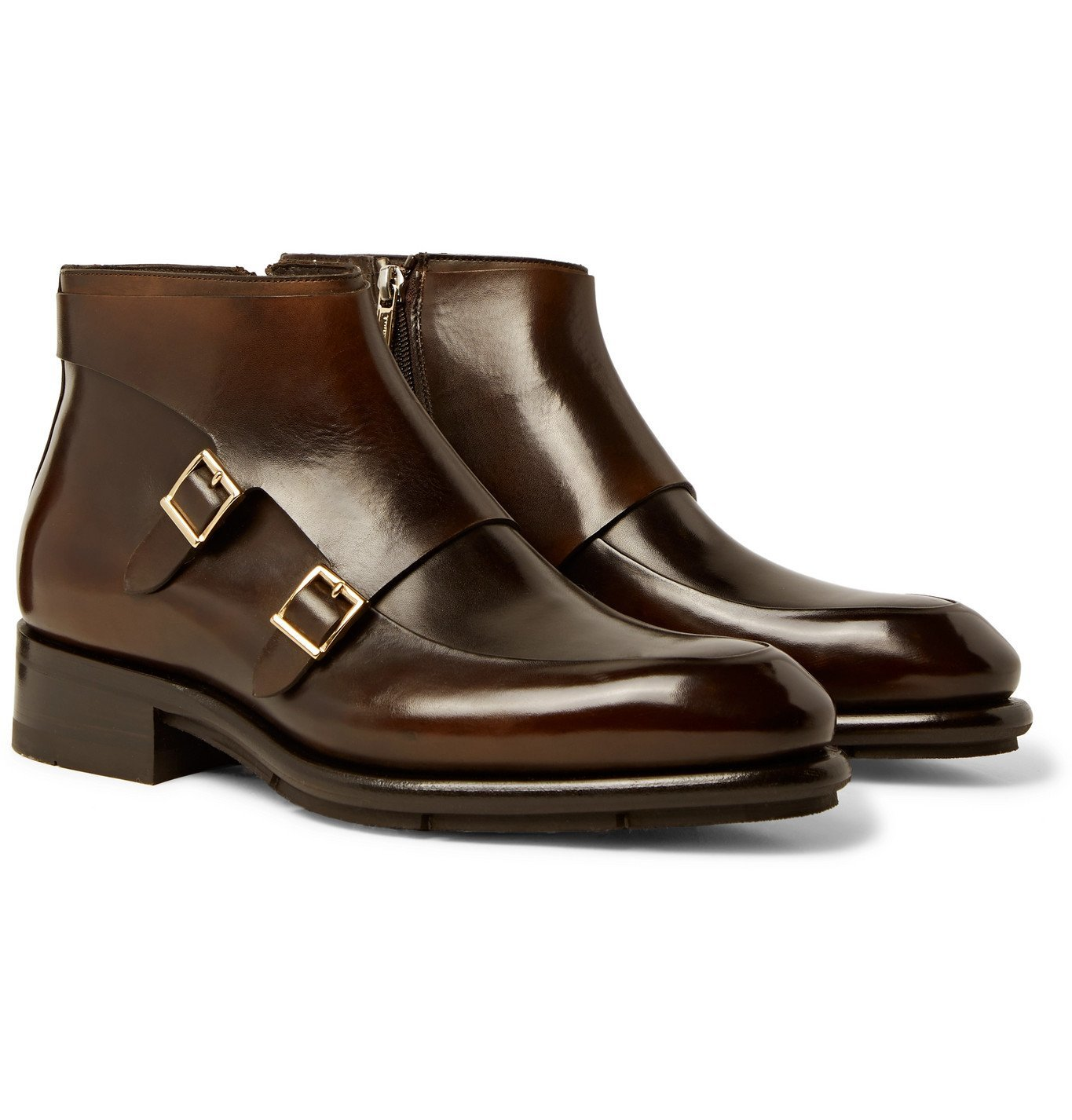 Photo: Santoni - Polished-Leather Monk-Strap Boots - Brown