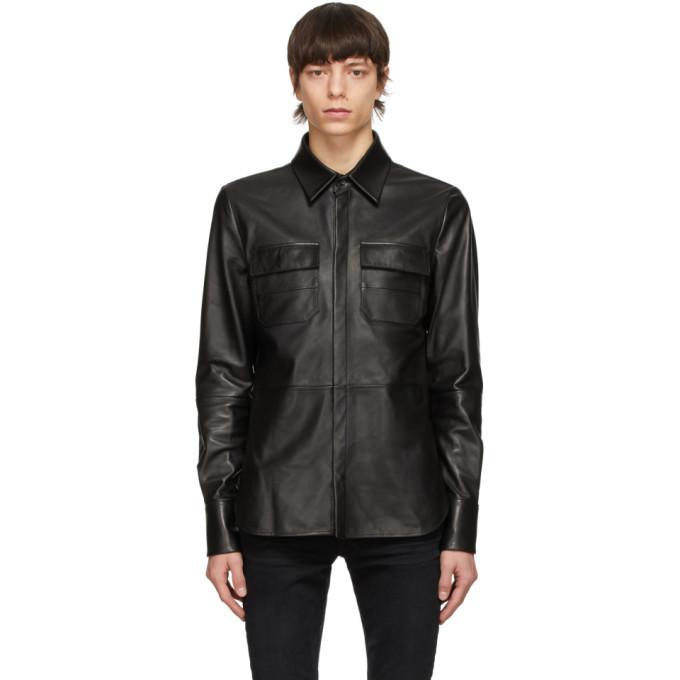 Photo: AMIRI Black Leather Shirt Jacket
