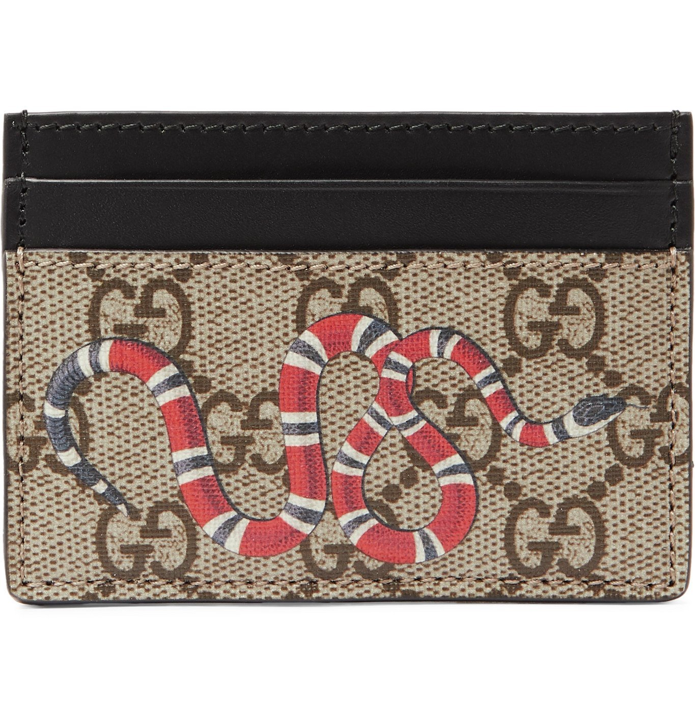 Photo: Gucci - Printed Monogrammed Coated-Canvas and Leather Cardholder - Brown