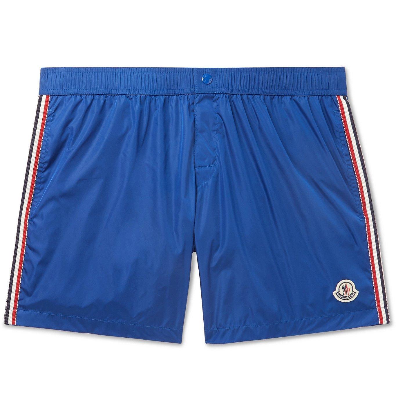 Photo: Moncler - Slim-Fit Mid-Length Logo-Appliquéd Swim Shorts - Blue