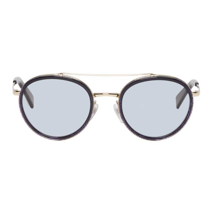 Photo: Alain Mikli Paris Gold and Blue Top Bar Sunglasses