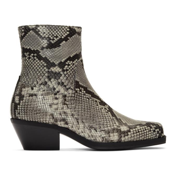 Photo: MISBHV SSENSE Exclusive Grey Snake Iggy Cowboy Boots