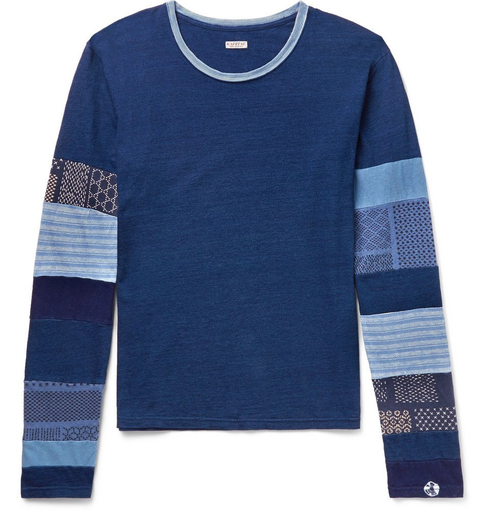 KAPITAL - Patchwork Slub Cotton-Jersey T-Shirt - Men - Navy