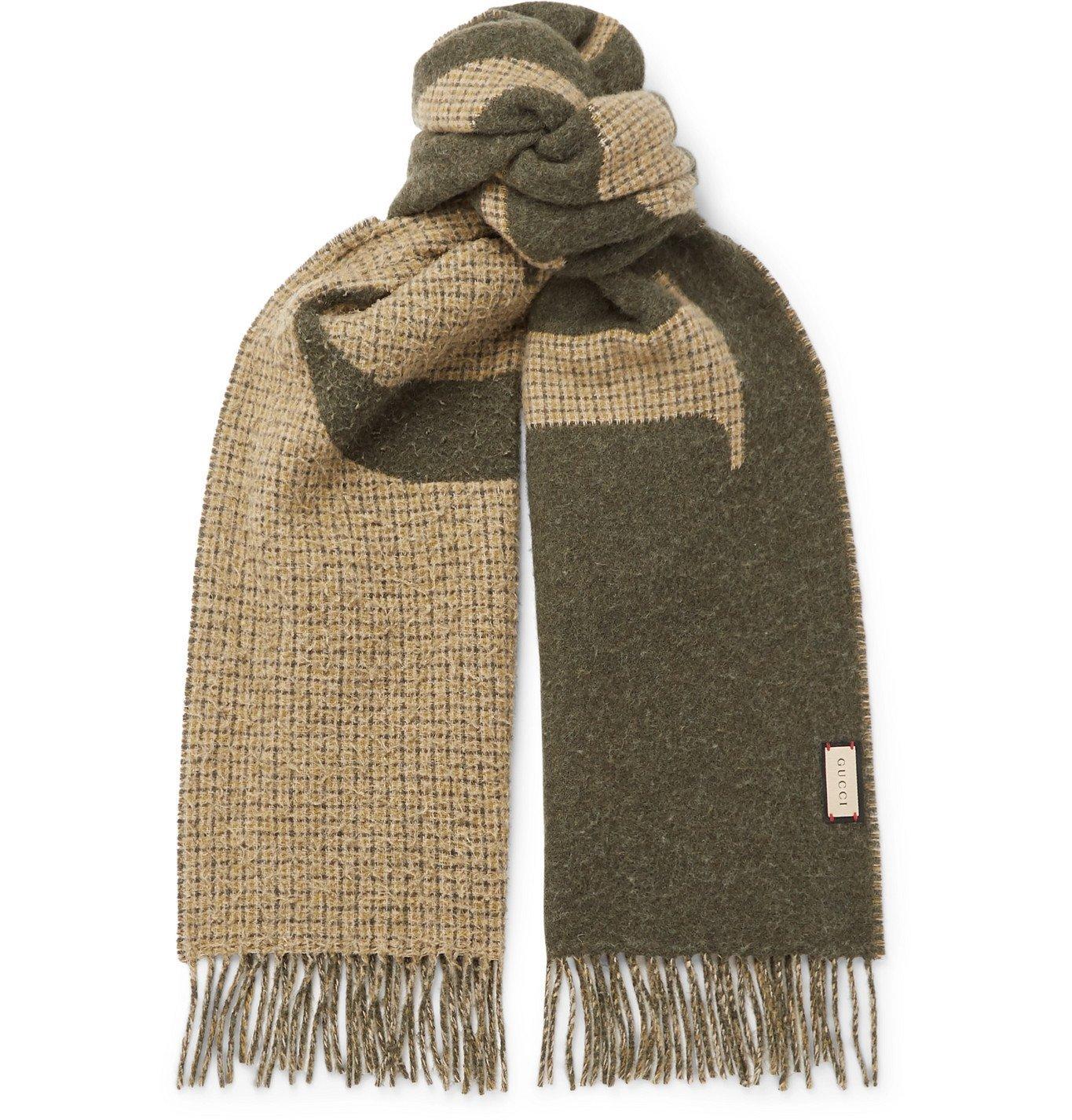 Photo: GUCCI - Fringed Logo-Jacquard Wool-Blend Scarf - Green