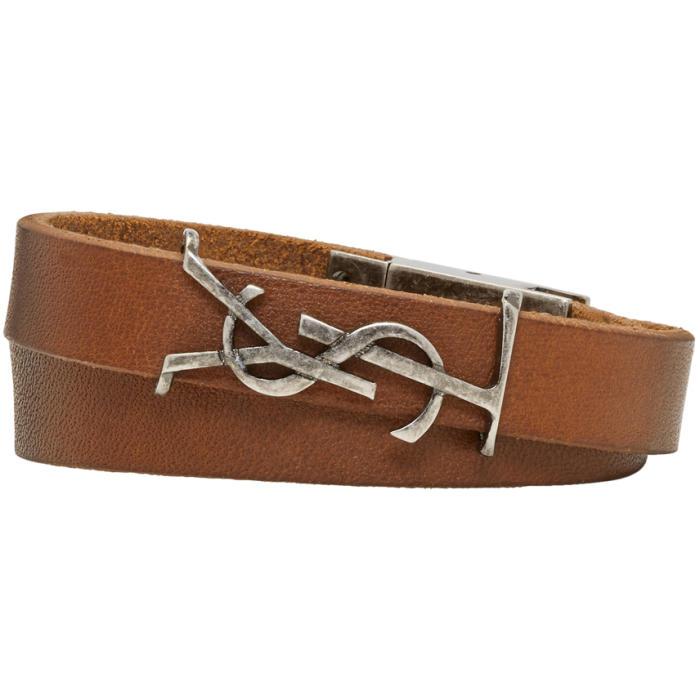 Photo: Saint Laurent Brown Leather Logo Wrap Bracelet