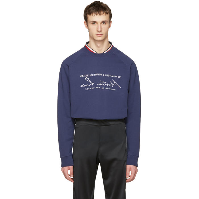 Martine Rose Navy Embroidered Pullover