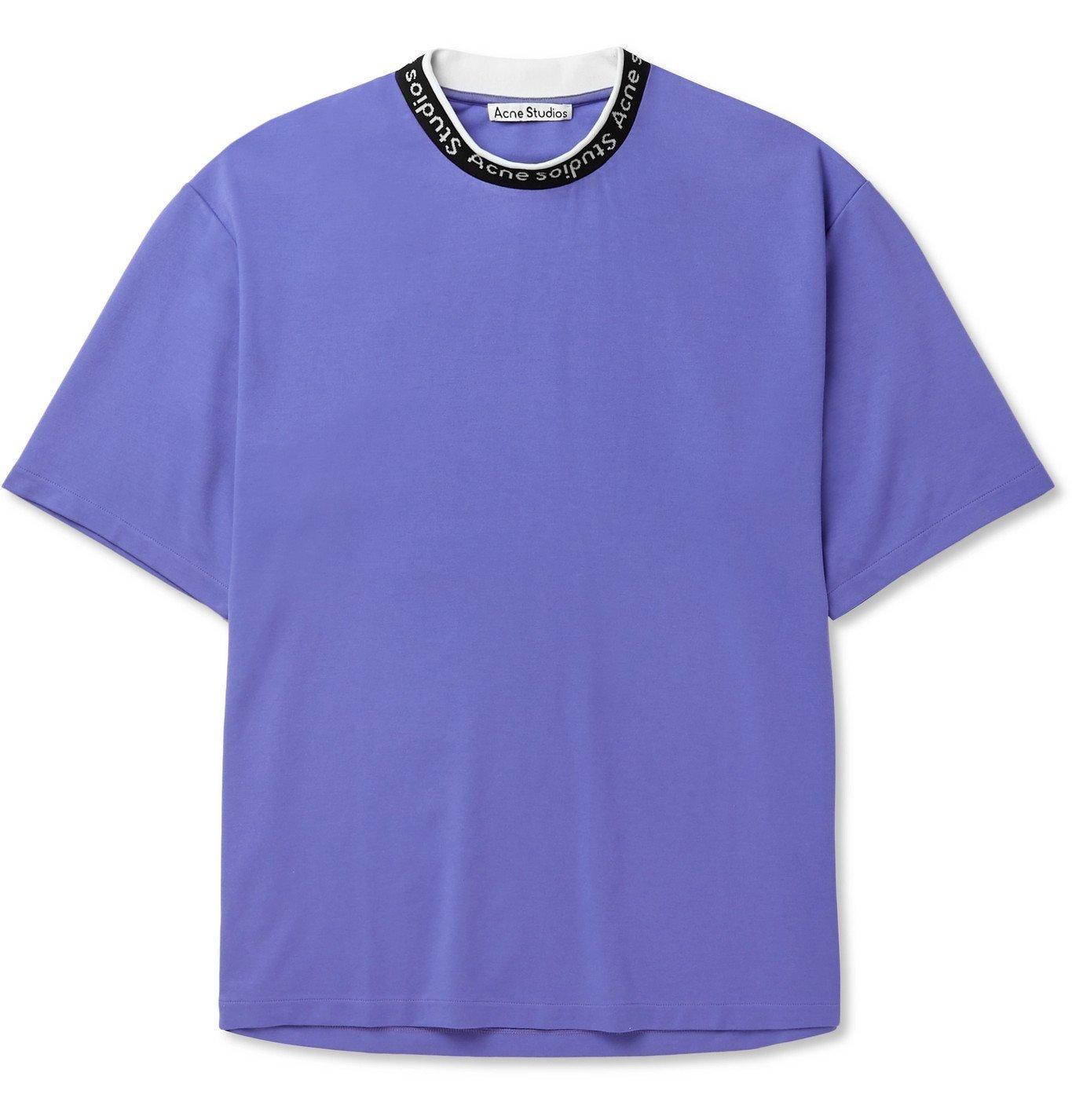 Photo: Acne Studios - Logo-Jacquard Jersey T-Shirt - Purple