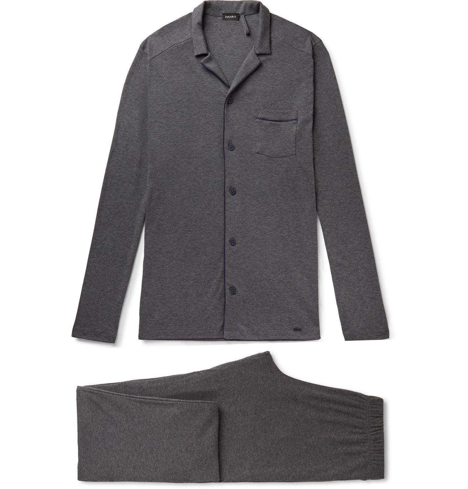 Hanro - Piped Cotton-Jersey Pyjama Set - Gray
