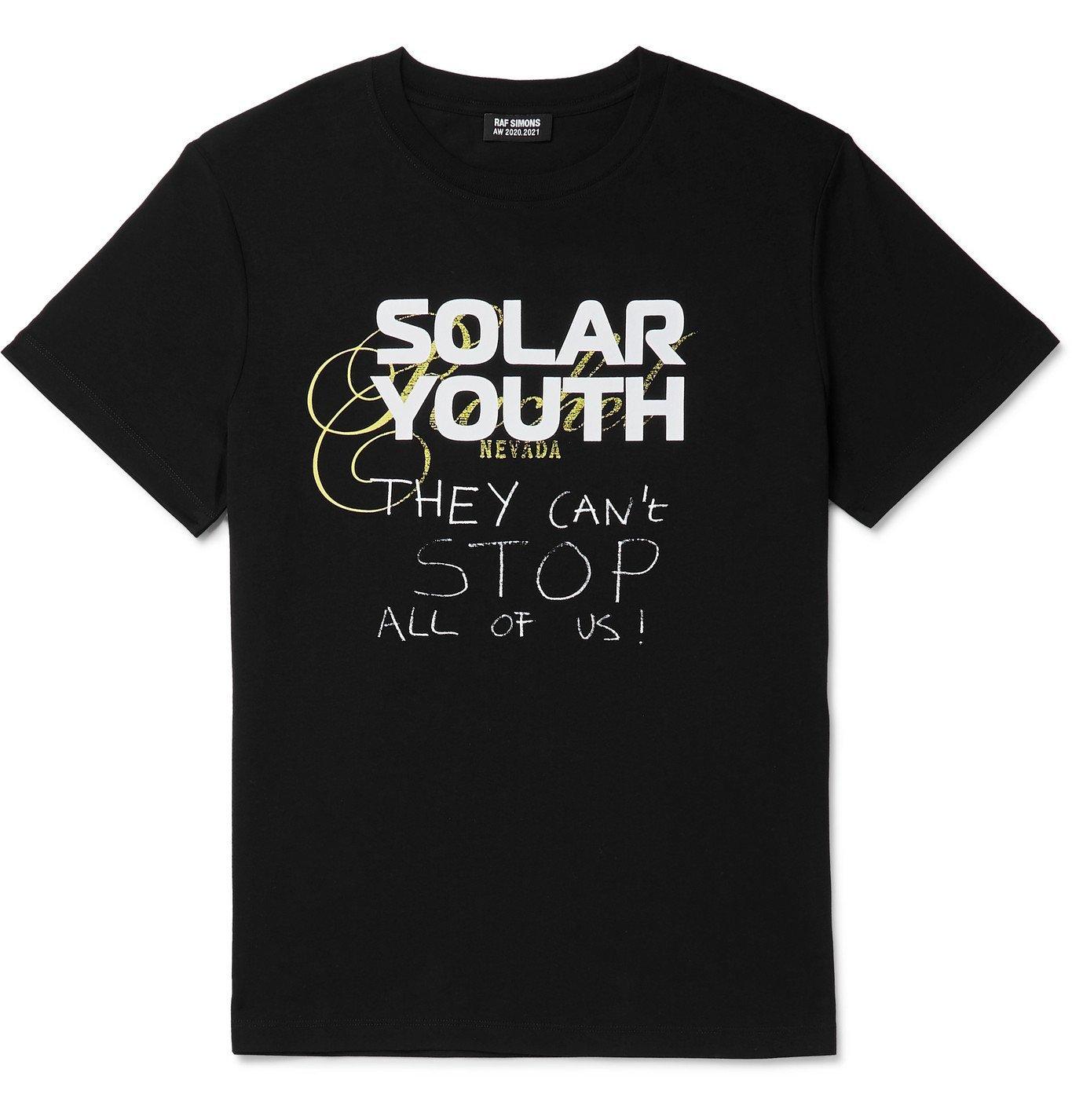 Photo: Raf Simons - Printed Cotton-Jersey T-Shirt - Black