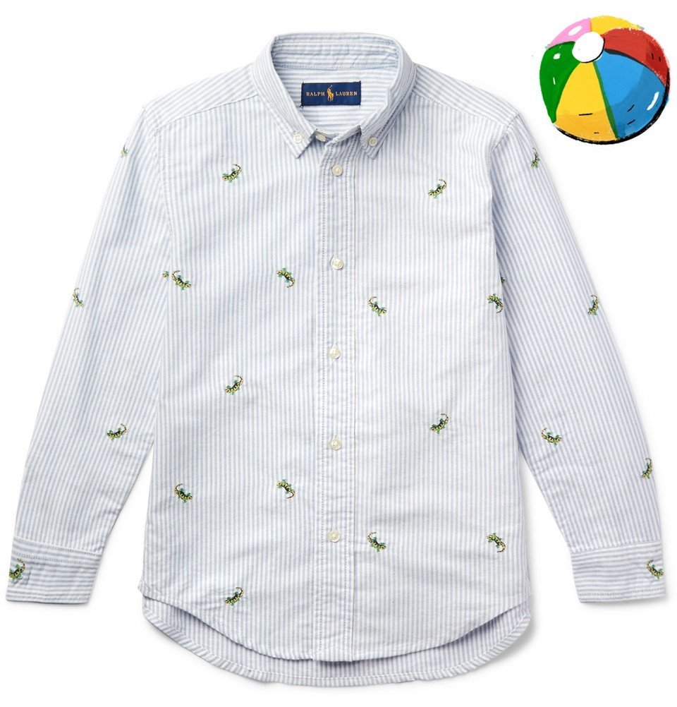 Photo: Polo Ralph Lauren - Boys Ages 2 - 6 Embroidered Striped Cotton Oxford Shirt - Blue