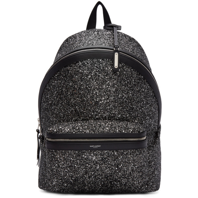Photo: Saint Laurent Black and Silver Glitter City Backpack