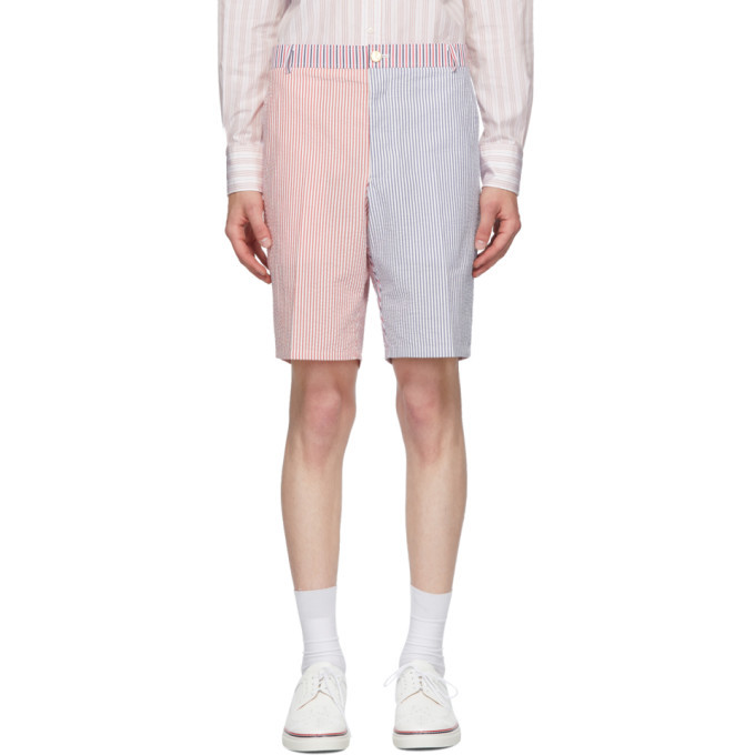 Photo: Thom Browne Red and Navy Seersucker Striped Unconstructed Shorts