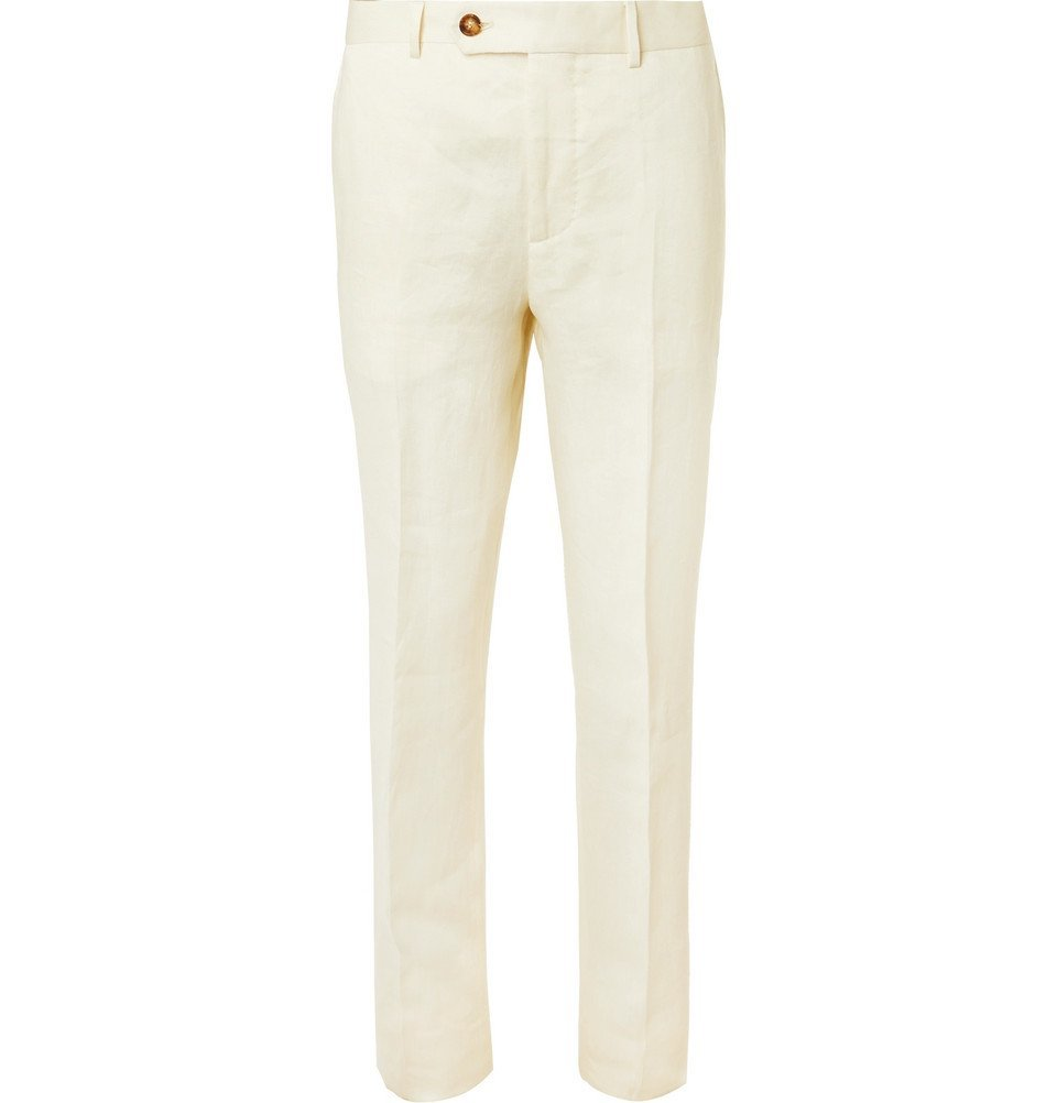 Photo: Brunello Cucinelli - Cream Linen Suit Trousers - Cream