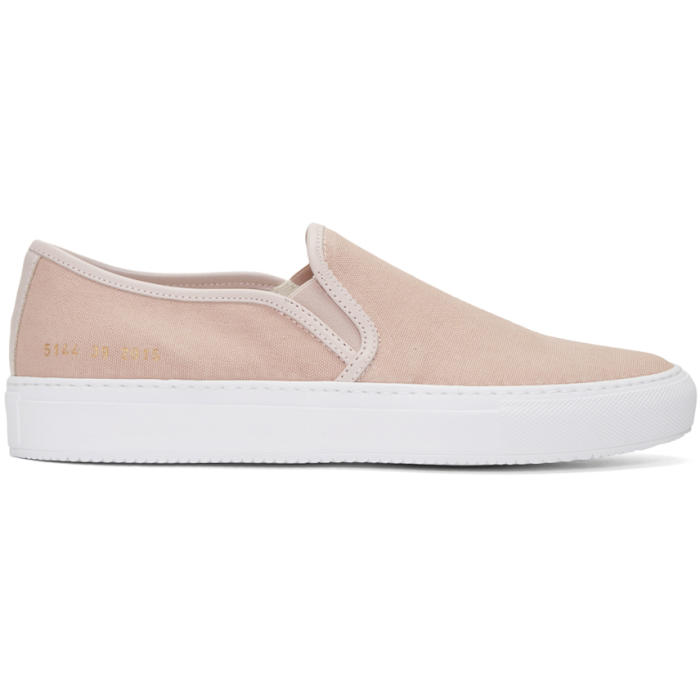 Common Projects Pink Canvas Tournament Slip-On Sneakers