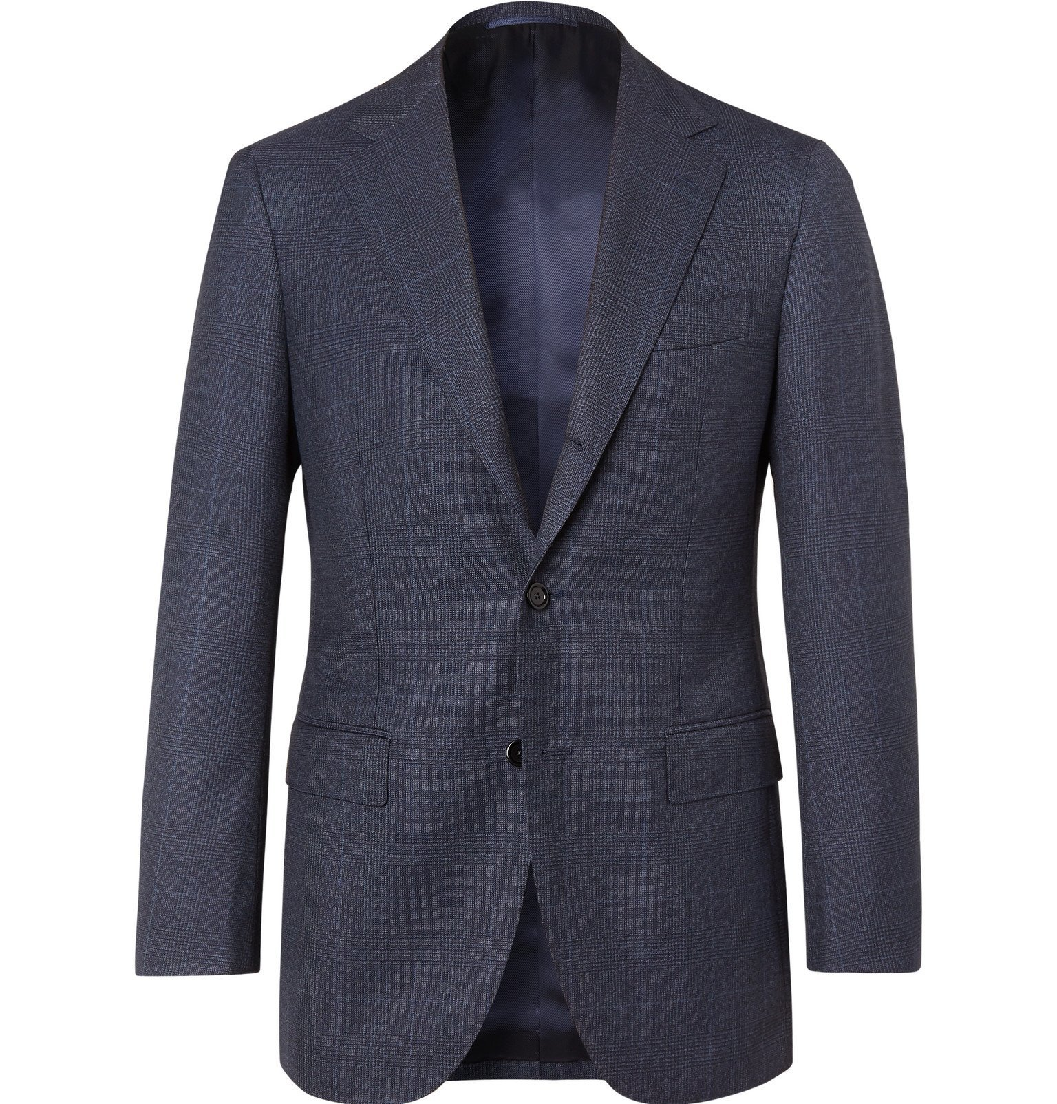 Photo: Beams F - Navy Prince of Wales Checked Wool Suit Jacket - Blue