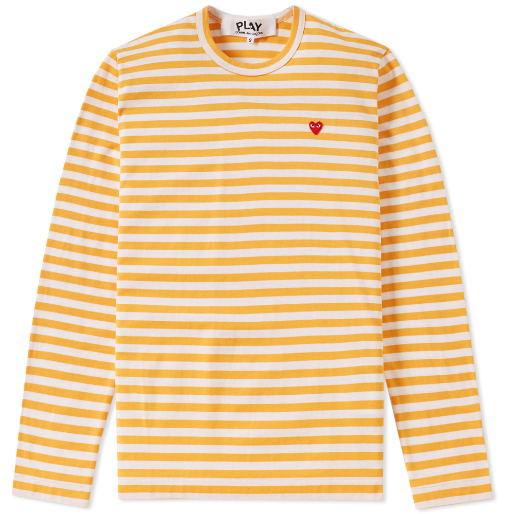 Photo: Comme des Garcons Play Little Red Heart Long Sleeve Stripe Tee Yellow