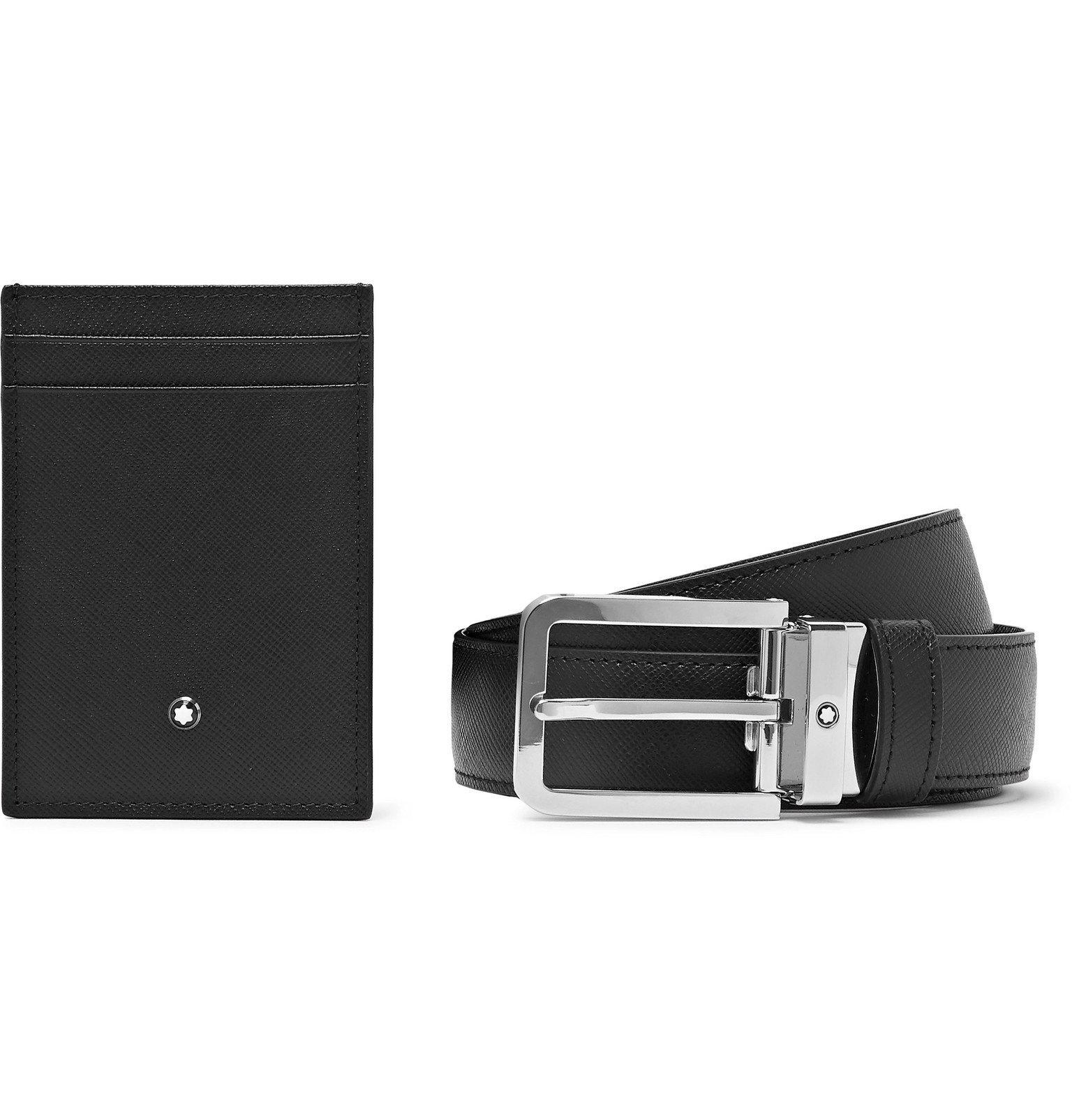 Photo: Montblanc - Cross-Grain Leather Belt and Cardholder Set - Black