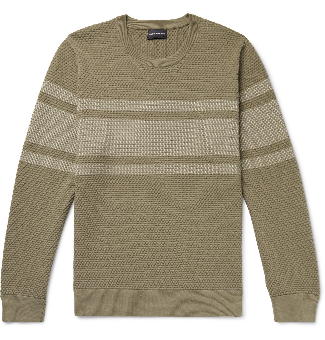 Photo: Club Monaco - Striped Honeycomb-Knit Cotton-Blend Sweater - Brown