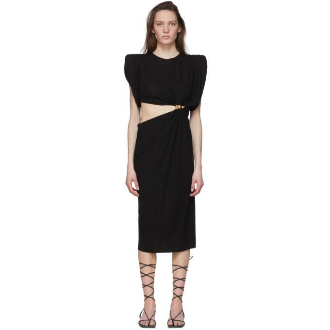 Versace Black Sculptural Shoulder Cut-Out Dress