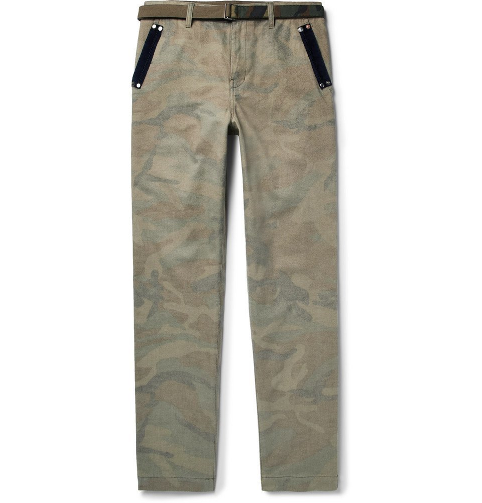 Sacai - Slim-Fit Velvet-Trimmed Camouflage-Print Brushed-Cotton Trousers - Men - Army green