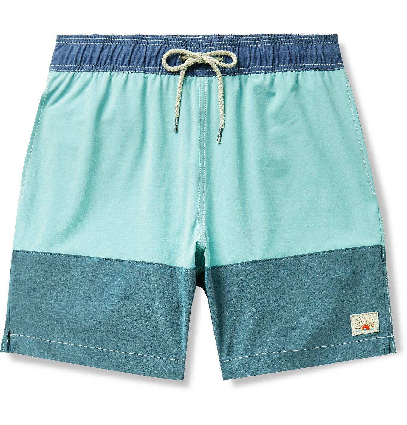 Photo: Faherty - Beacon Mid-Length Colour-Blocked Swim Shorts - Blue