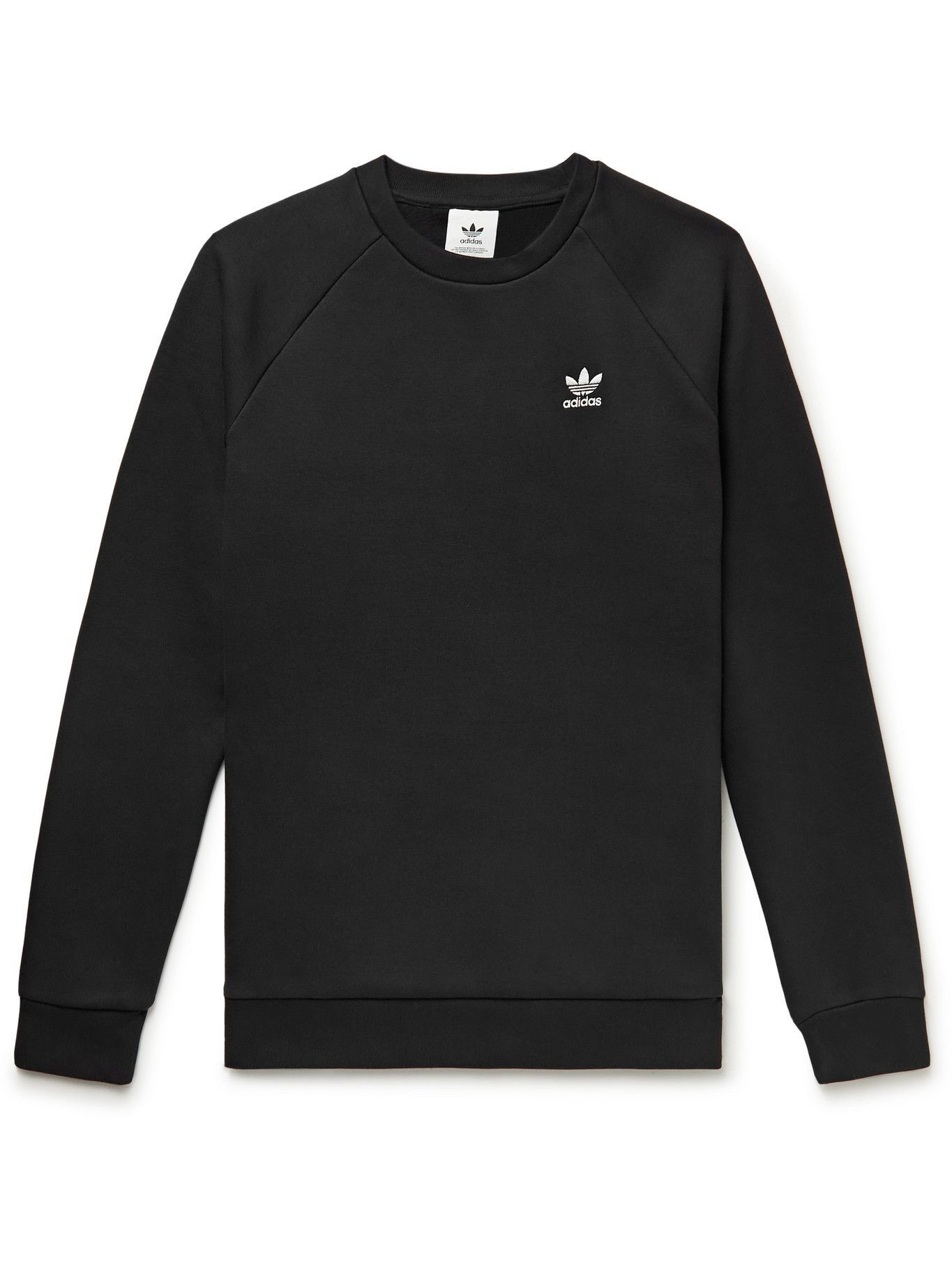 Photo: adidas Originals - Adicolor Essentials Logo-Embroidered Cotton-Blend Jersey Sweatshirt - Black