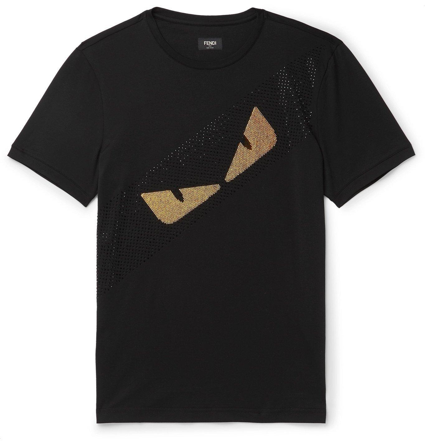 Photo: Fendi - Peekaboo Crystal-Embellished Cotton-Jersey T-Shirt - Black