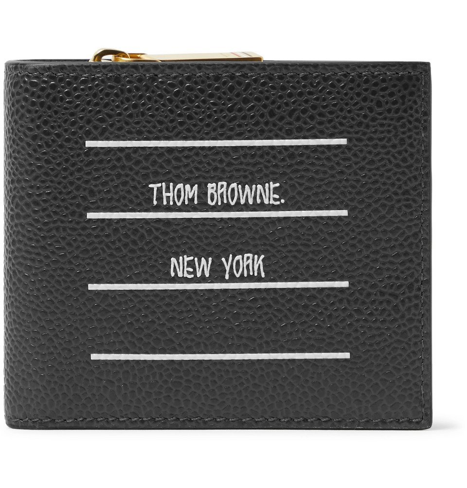 Photo: Thom Browne - Logo-Print Pebble-Grain Leather Billfold Wallet - Charcoal