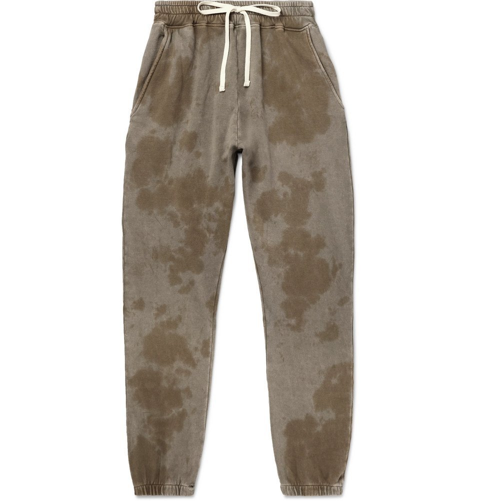 Photo: BILLY - Tapered Tie-Dyed Loopback Cotton-Jersey Sweatpants - Gray