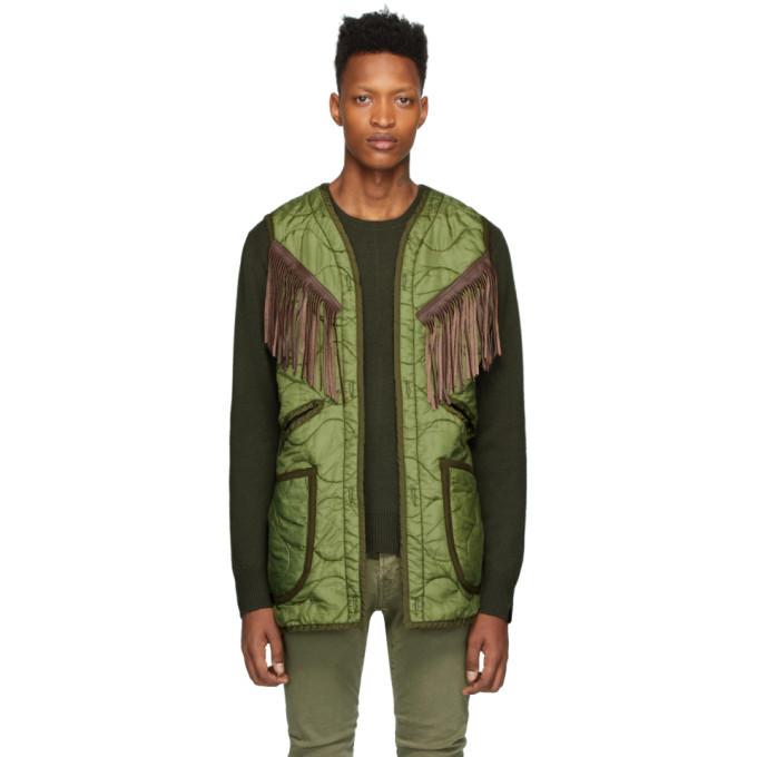 Photo: R13 Green Repurposed Fringe Liner Vest
