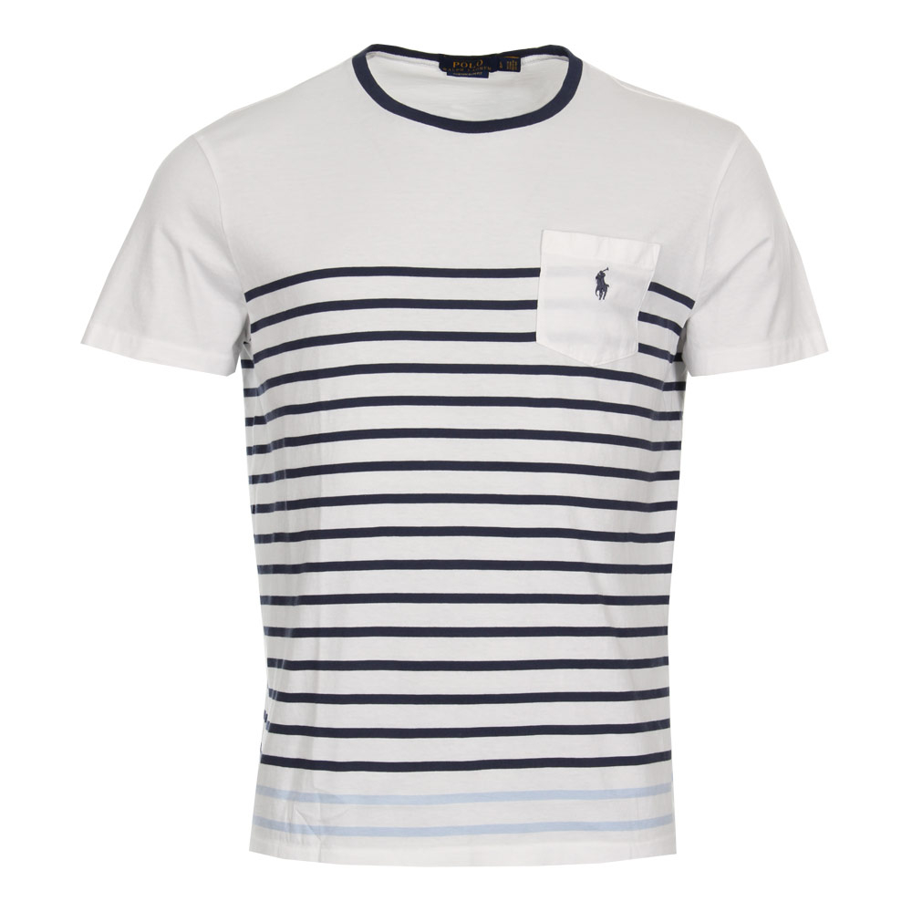 Photo: T-Shirt - White / Navy Stripe