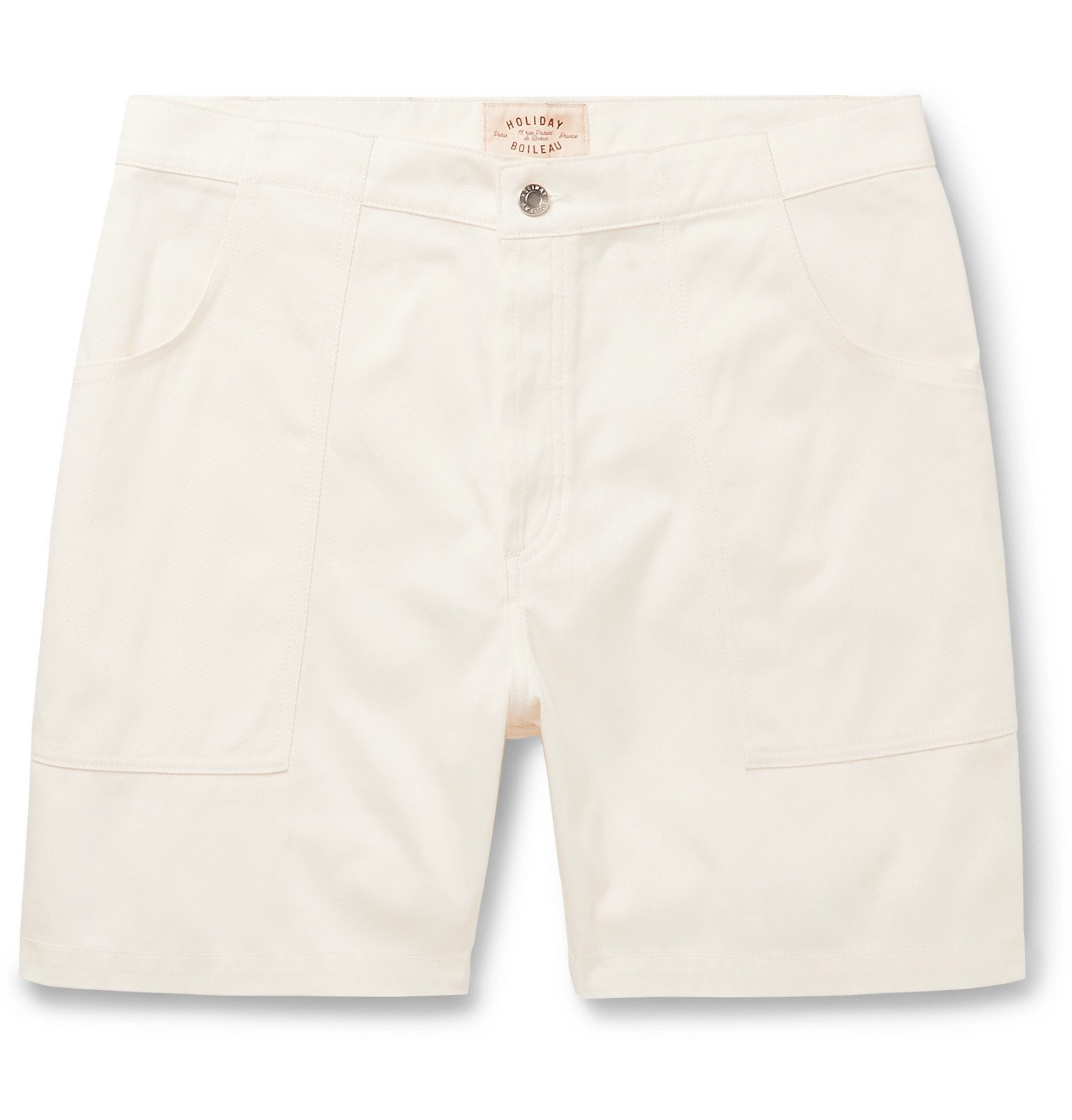 Photo: Holiday Boileau - The Bush Slim-Fit Cotton-Twill Shorts - White