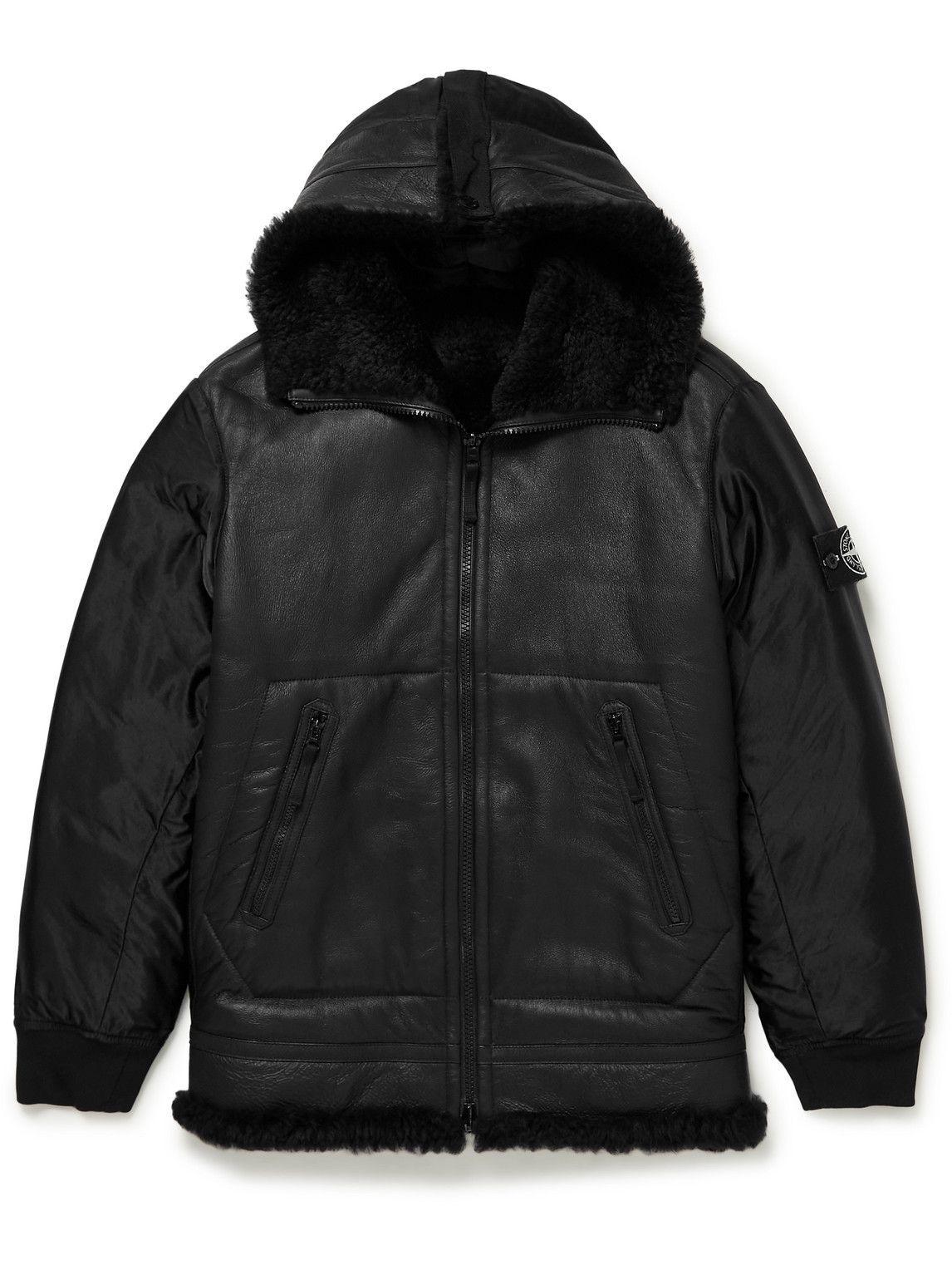 Photo: Stone Island - Logo-Appliquéd Shell and Shearling Hooded Jacket - Black