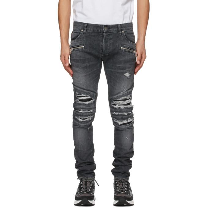 Photo: Balmain Grey Ribbed Patches Slim Jeans
