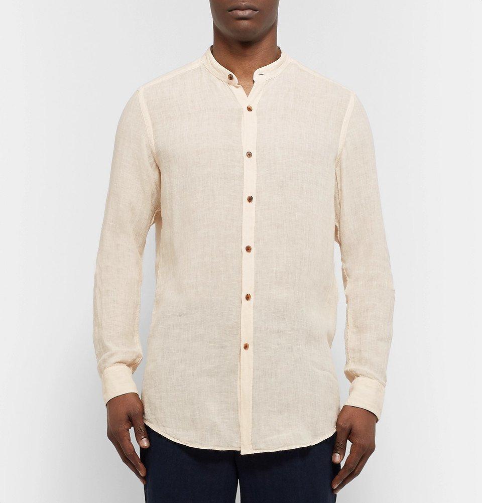 Tod's - Grandad-Collar Slub Linen Shirt - Men - Ivory