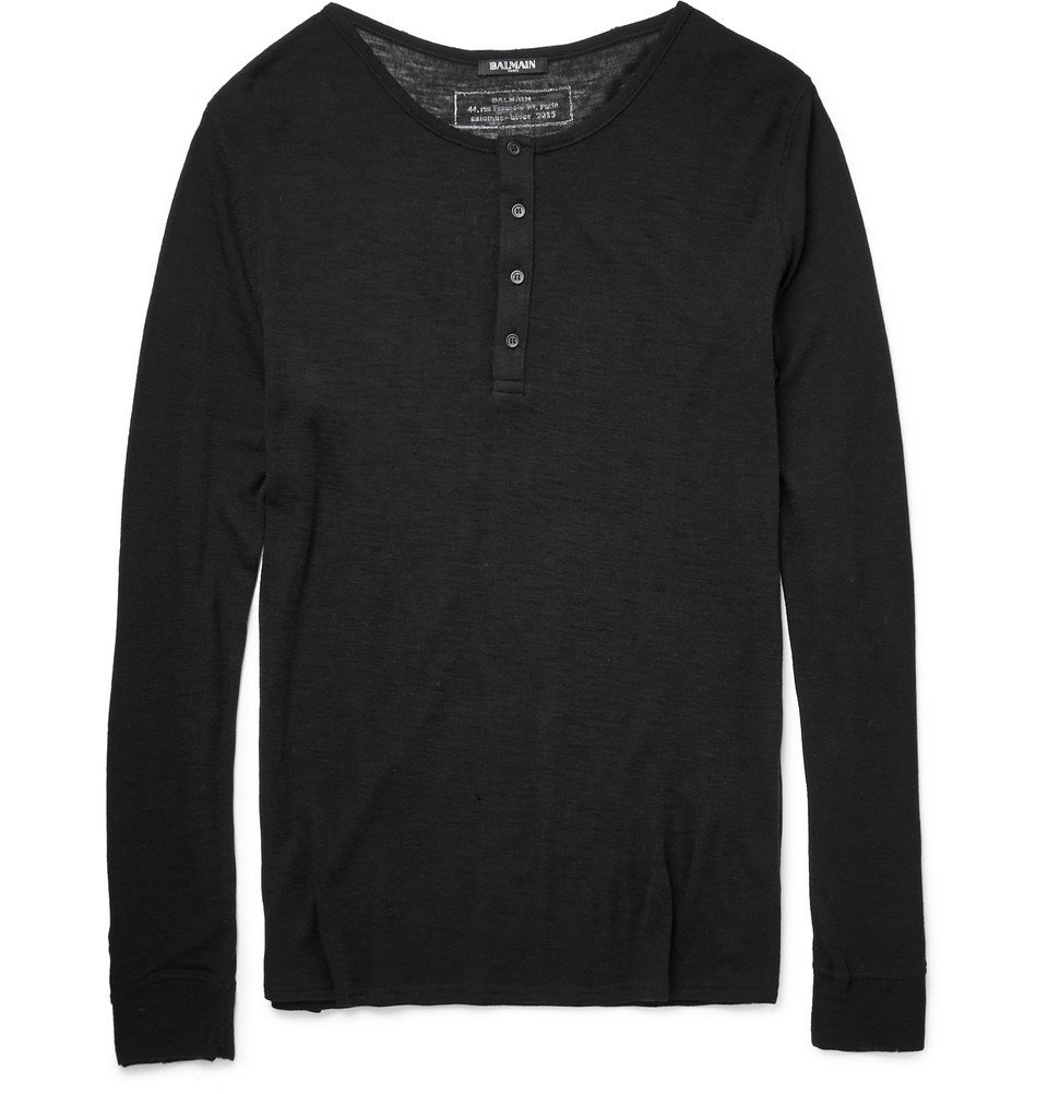 Photo: Balmain - Wool Henley T-Shirt - Black