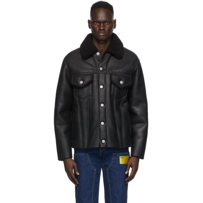 Photo: Maison Margiela Black Leather Shearling Jacket