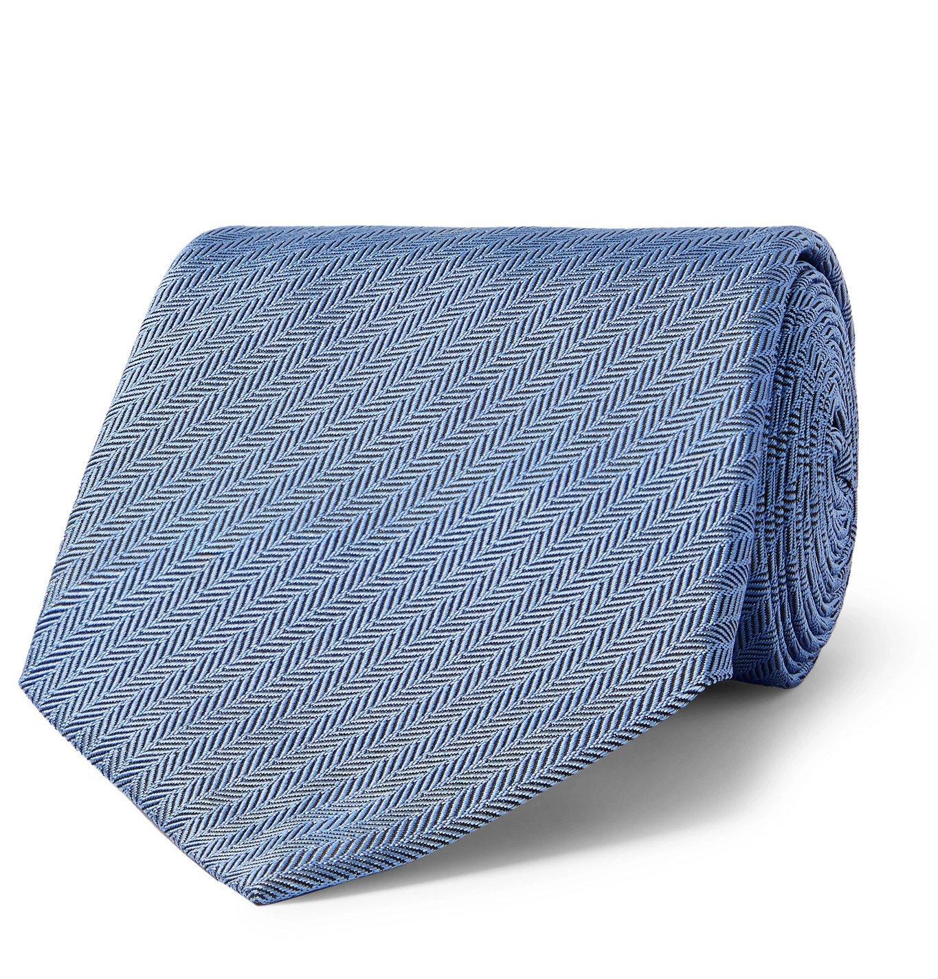Dunhill - 8.5cm Herringbone Mulberry Silk Tie - Blue
