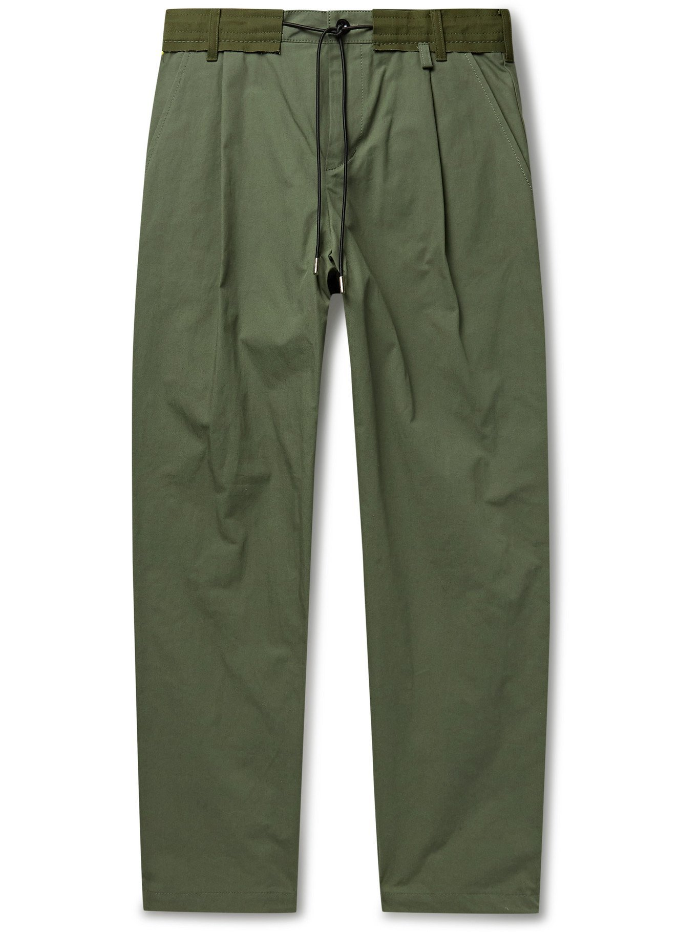 Photo: SACAI - Slim-Fit Pleated Canvas-Trimmed Cotton-Blend Twill Trousers - Green