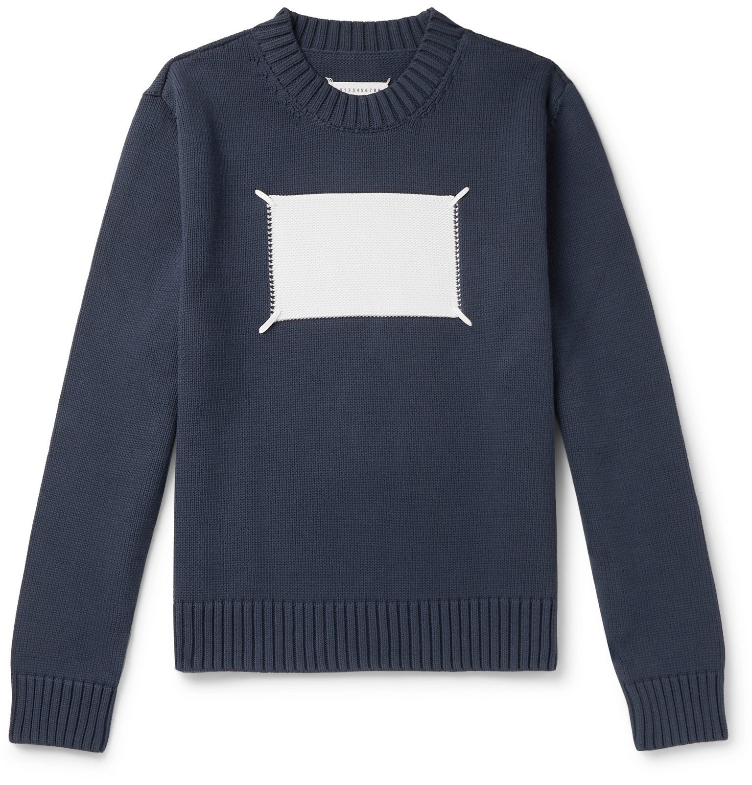 Photo: Maison Margiela - Embroidered Intarsia Cotton-Blend Sweater - Blue