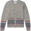 THOM BROWNE - Slim-Fit Striped Mélange Wool and Mohair-Blend Cardigan - Gray