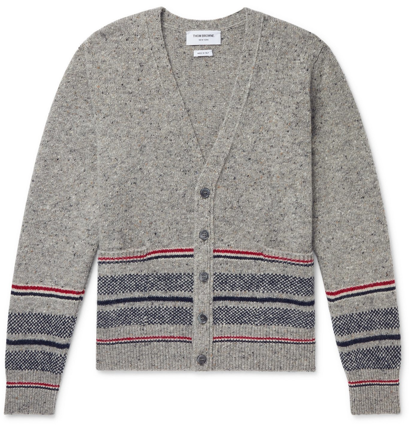 Photo: THOM BROWNE - Slim-Fit Striped Mélange Wool and Mohair-Blend Cardigan - Gray