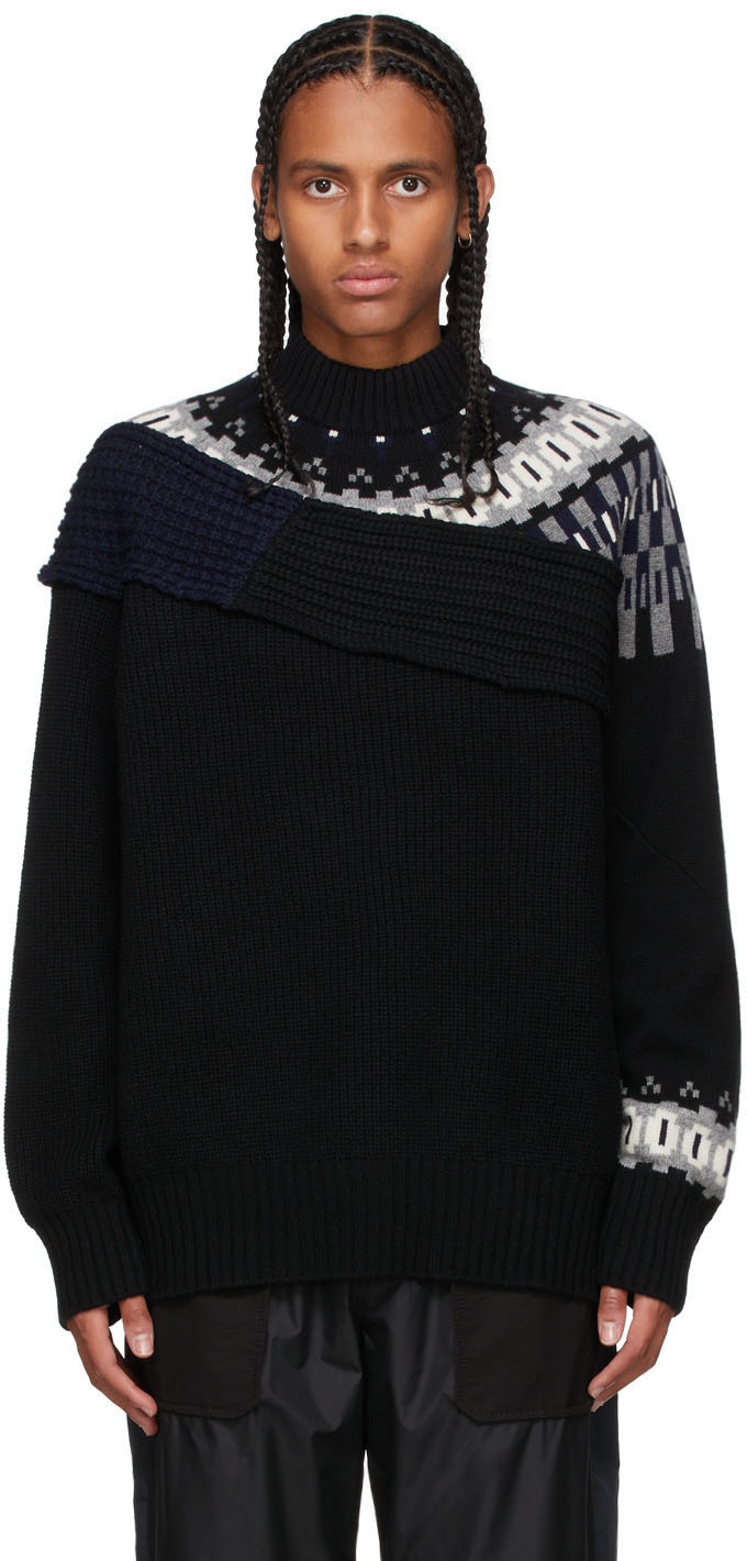 Photo: Sacai Black Knit Wool Crewneck Sweater