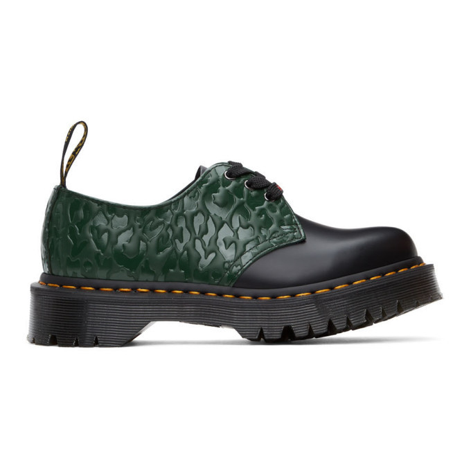 Photo: Dr. Martens Black and Green X-Girl Edition Leopard 1461 Bex Derbys