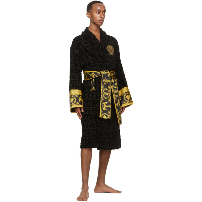 Versace Black Barocco Robe