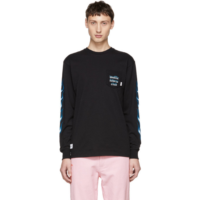 Photo: Vans Black and Blue WTAPS Edition Flame Long Sleeve T-Shirt