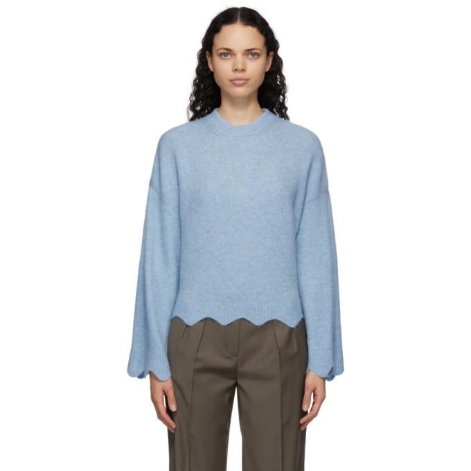 Photo: 3.1 Phillip Lim Blue Wool and Alpaca Scalloped Sweater