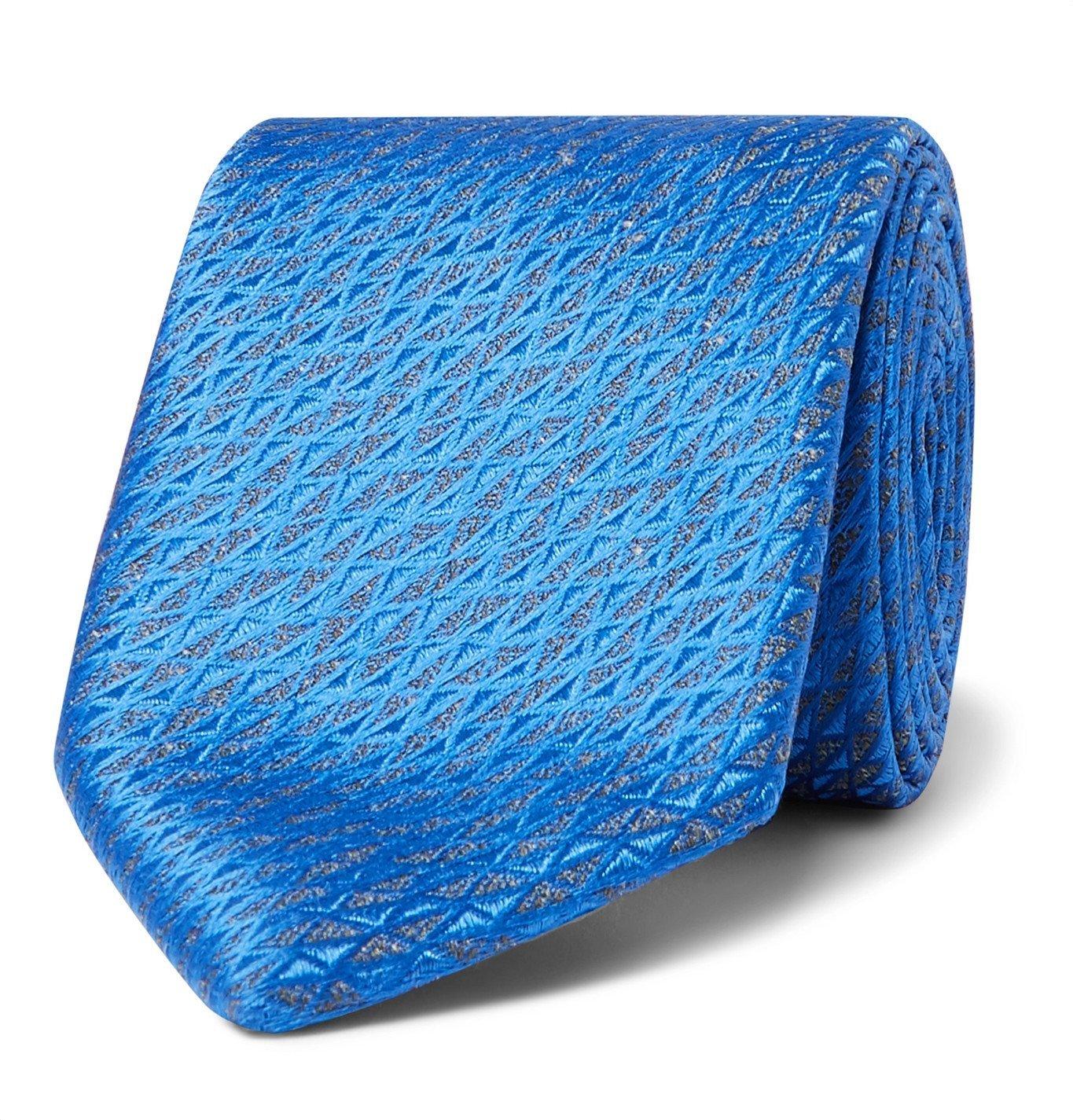 Photo: Charvet - 7.5cm Silk and Linen-Blend Jacquard Tie - Blue